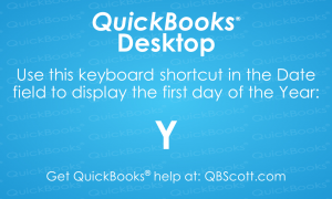 QuickBooks Keyboard Shortcuts First day of Year QBScott.com Scott Meister, CPA
