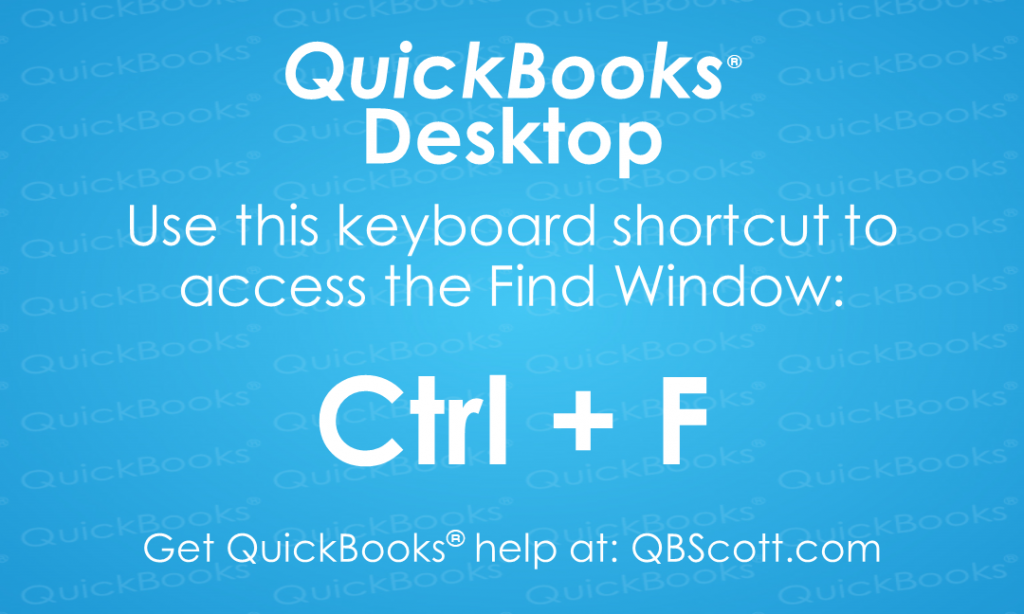 QuickBooks Keyboard Shortcuts Find QBScott.com Scott Meister, CPA