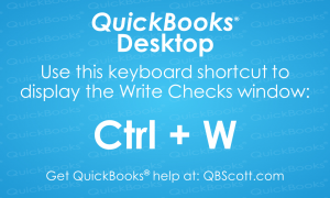 QuickBooks Keyboard Shortcuts Write Checks QBScott.com Scott Meister, CPA