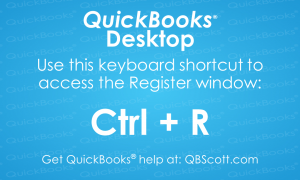 QuickBooks Keyboard Shortcuts Register QBScott.com Scott Meister, CPA