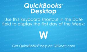 QuickBooks Keyboard Shortcuts First day of Week QBScott.com Scott Meister, CPA