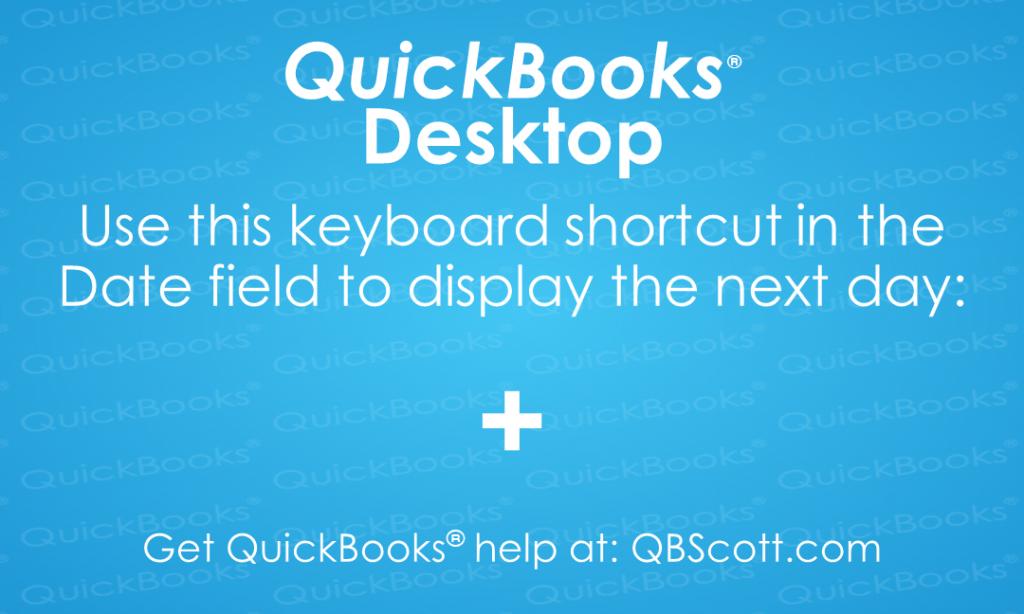 QuickBooks Keyboard Shortcuts + plus key