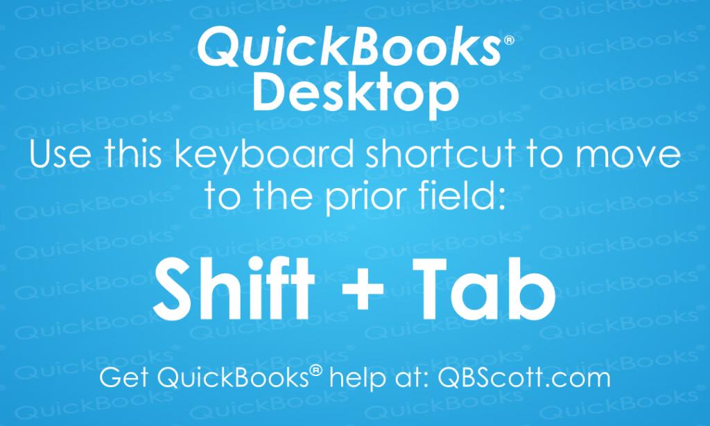 QuickBooks Keyboard Shortcuts Shift Tab