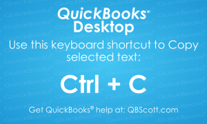 QuickBooks Keyboard Shortcuts Ctrl C Copy