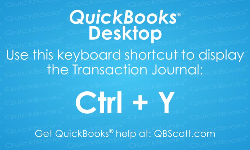 QuickBooks-Keyboard-Shortcuts Transaction Journal